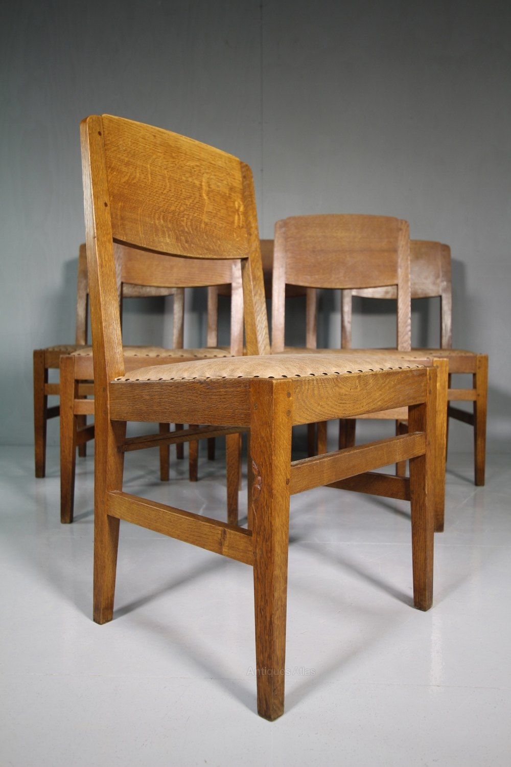 Set of six 1940 39 s mouseman oak dining chairs antiques atlas for Oak dining chairs