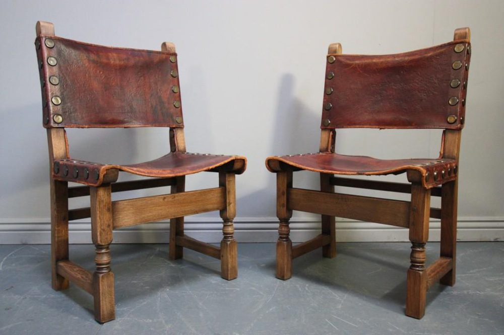 oak and leather dining chairs set of six antique oak amp leather dining chairs antiques 7123