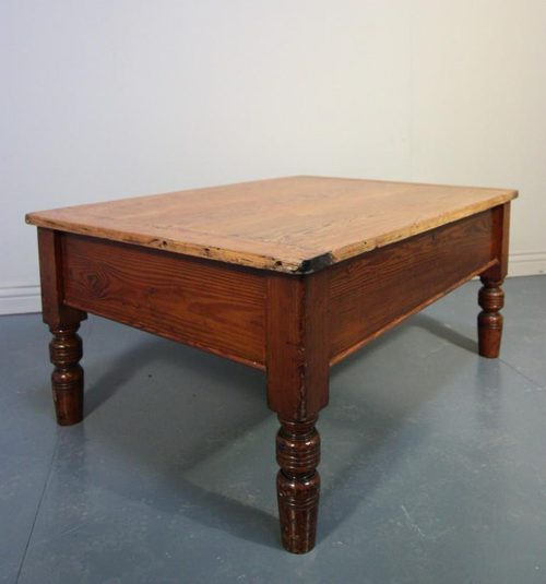 Victorian Antique Pine Coffee Table With Storage
