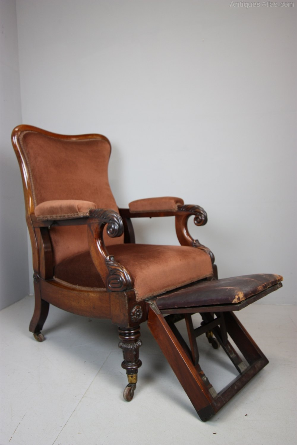 William IV Antique Reclining Library Armchair By Dawes