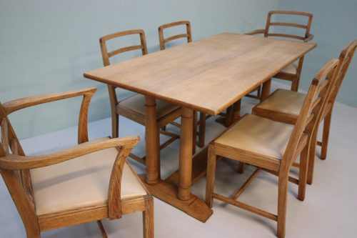 Wonderful heals antique oak dining table chairs antiques atlas - Heals dining table ...