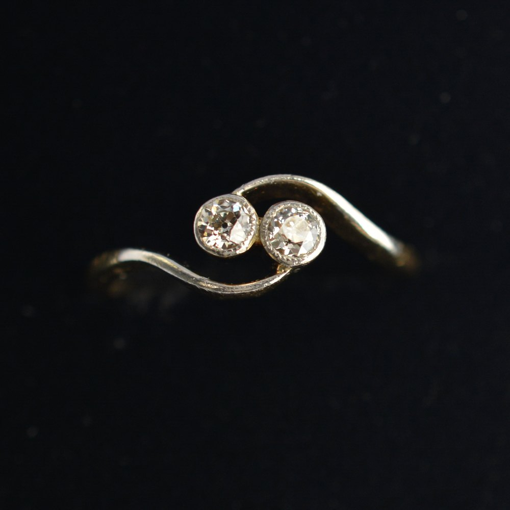 Two Stone Twist Diamond Ring
