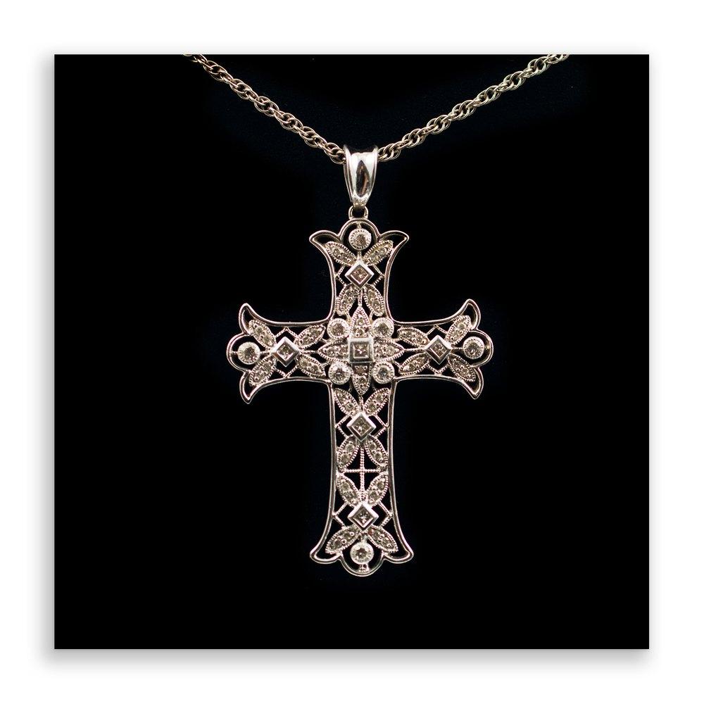 Antiques atlas 18ct white gold diamond cross pendant necklace 18ct white gold diamond cross pendant necklace aloadofball Gallery