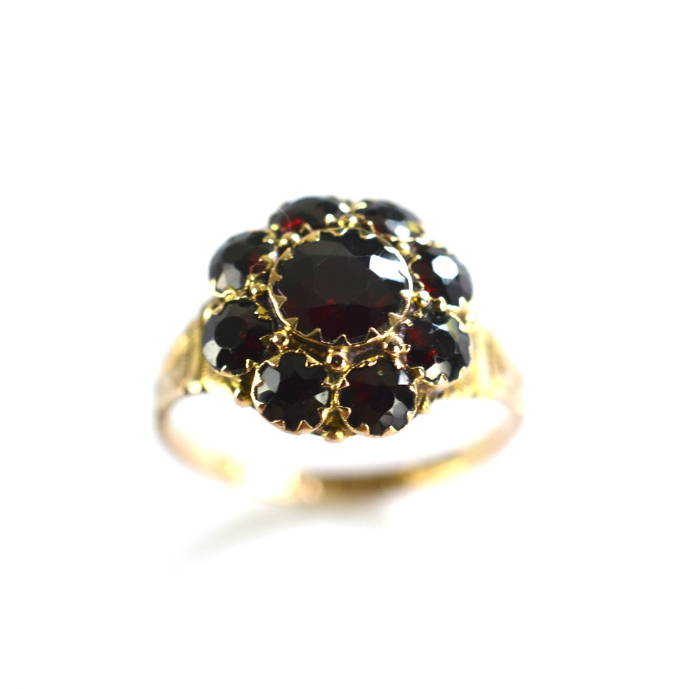 Antiques Atlas Antique Garnet Flower Ring 9ct Gold 1857