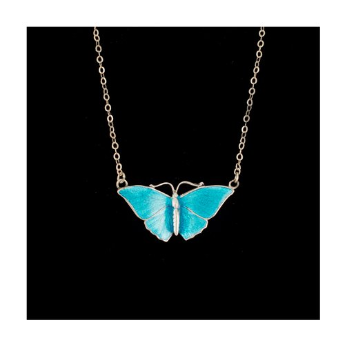 Antique Butterfly Pendant 16 Necklace N108