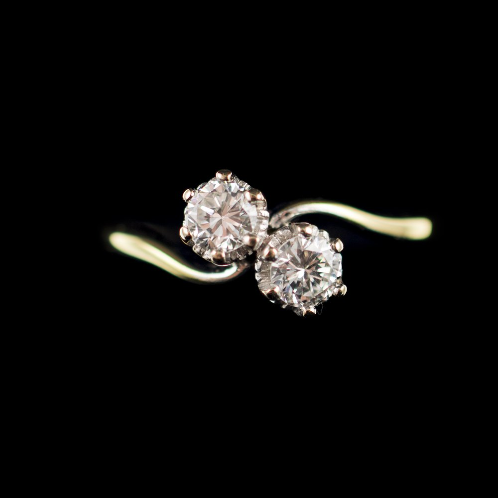 Antiques Atlas Two Stone Diamond Ring 18ct Gold