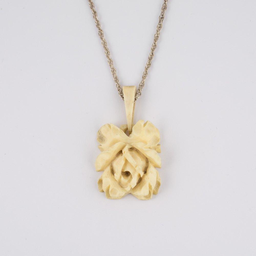Antiques Atlas Victorian Carved Bone Rose Pendant Silver Chain