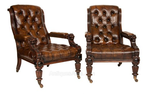 A Wonderful Pair Of Leather Library Chairs - A Wonderful Pair Of Leather Library Chairs - Antiques Atlas