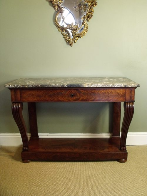Gentil 19th C Mahogany U0026 Marble Console Table Antique ...
