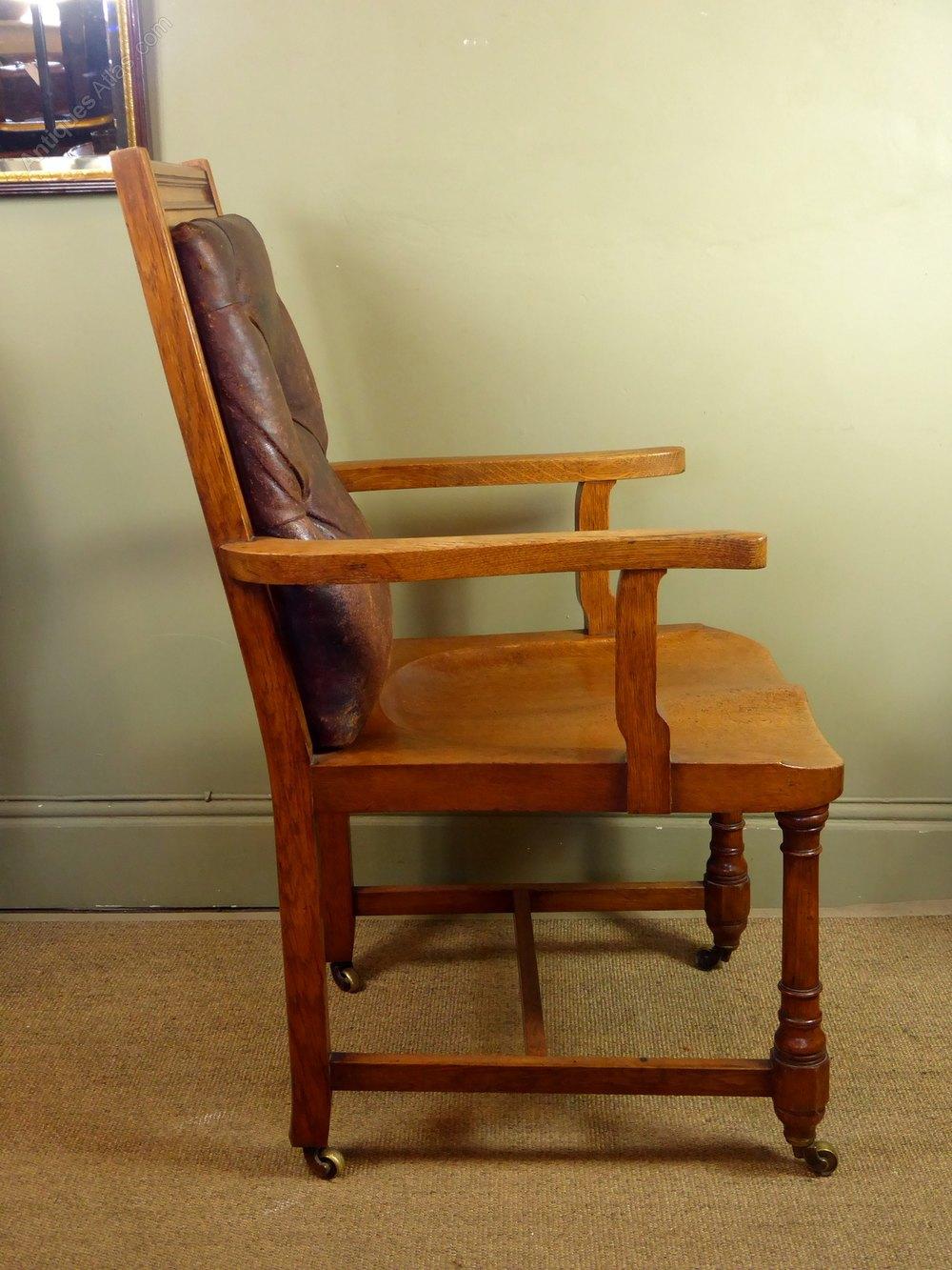 19th C Oak Amp Leather Chair Antiques Atlas