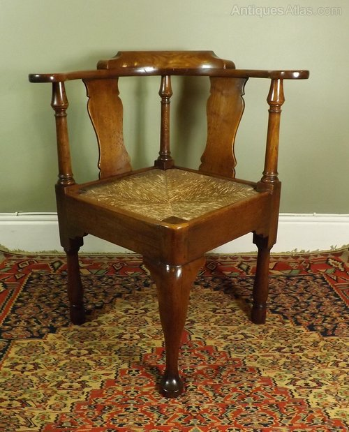 George III Walnut Corner Chair - George III Walnut Corner Chair - Antiques Atlas