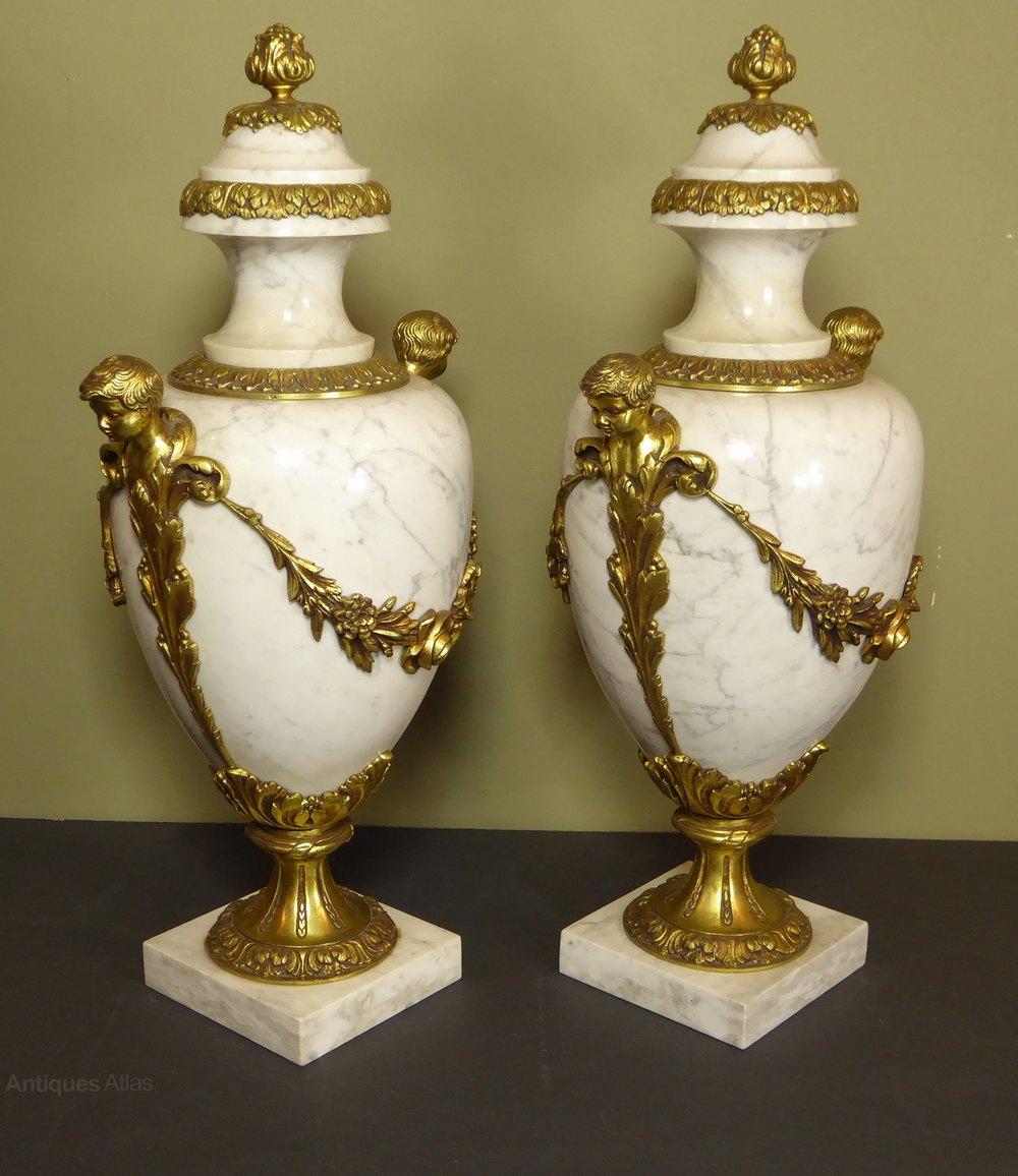Antiques atlas large pair of marble brass vase cassoulettes large pair of marble brass vase cassoulettes marble marble vase reviewsmspy