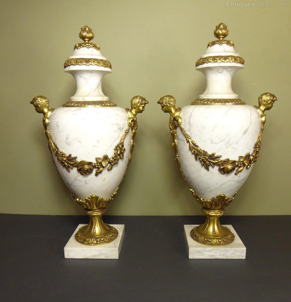 Antiques atlas large pair of marble brass vase cassoulettes large pair of marble brass vase cassoulettes reviewsmspy