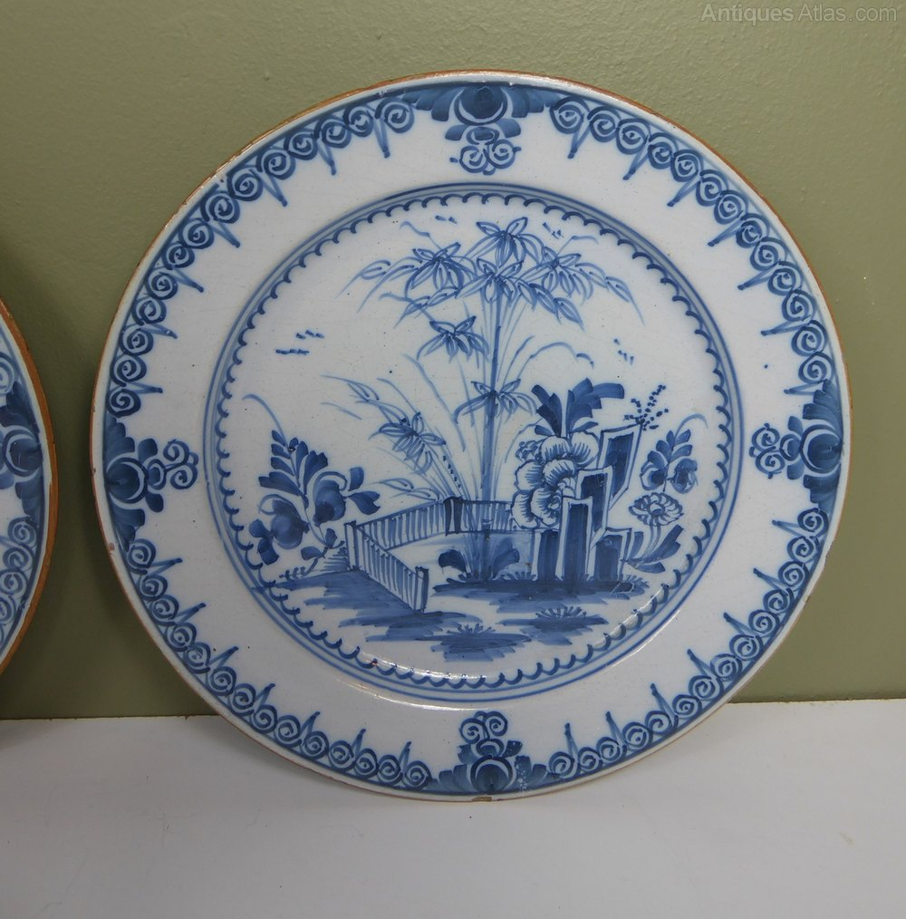 Pair of 18th C Delft Plates Delft Pottery delft charger ... & Antiques Atlas - Pair Of 18th C Delft Plates