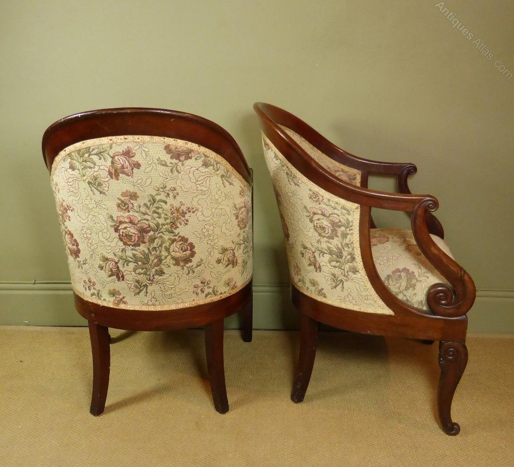 Antique tub chairs -  Antique Tub Chairs Armchair Tub Chair Mahogany