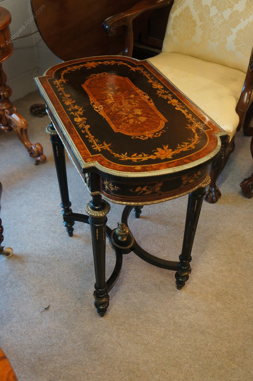 A 19th century inlaid table with ormalu mounts antiques for Table th width