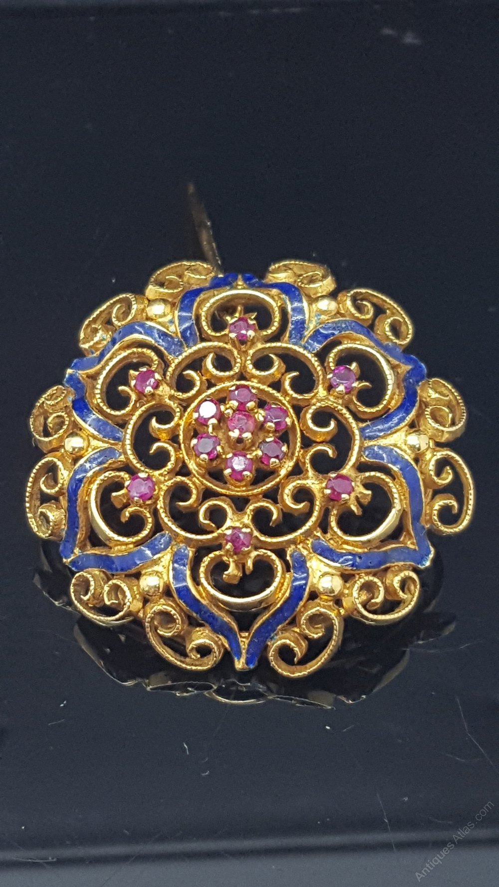 Antiques Atlas - 18ct Ruby And Enamel Brooch