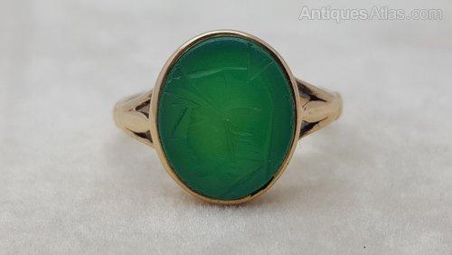 9ct Chalcedony Chalcedony Green Intaglio Ring 9ct Ring Green 9ct Intaglio E9DIWH2