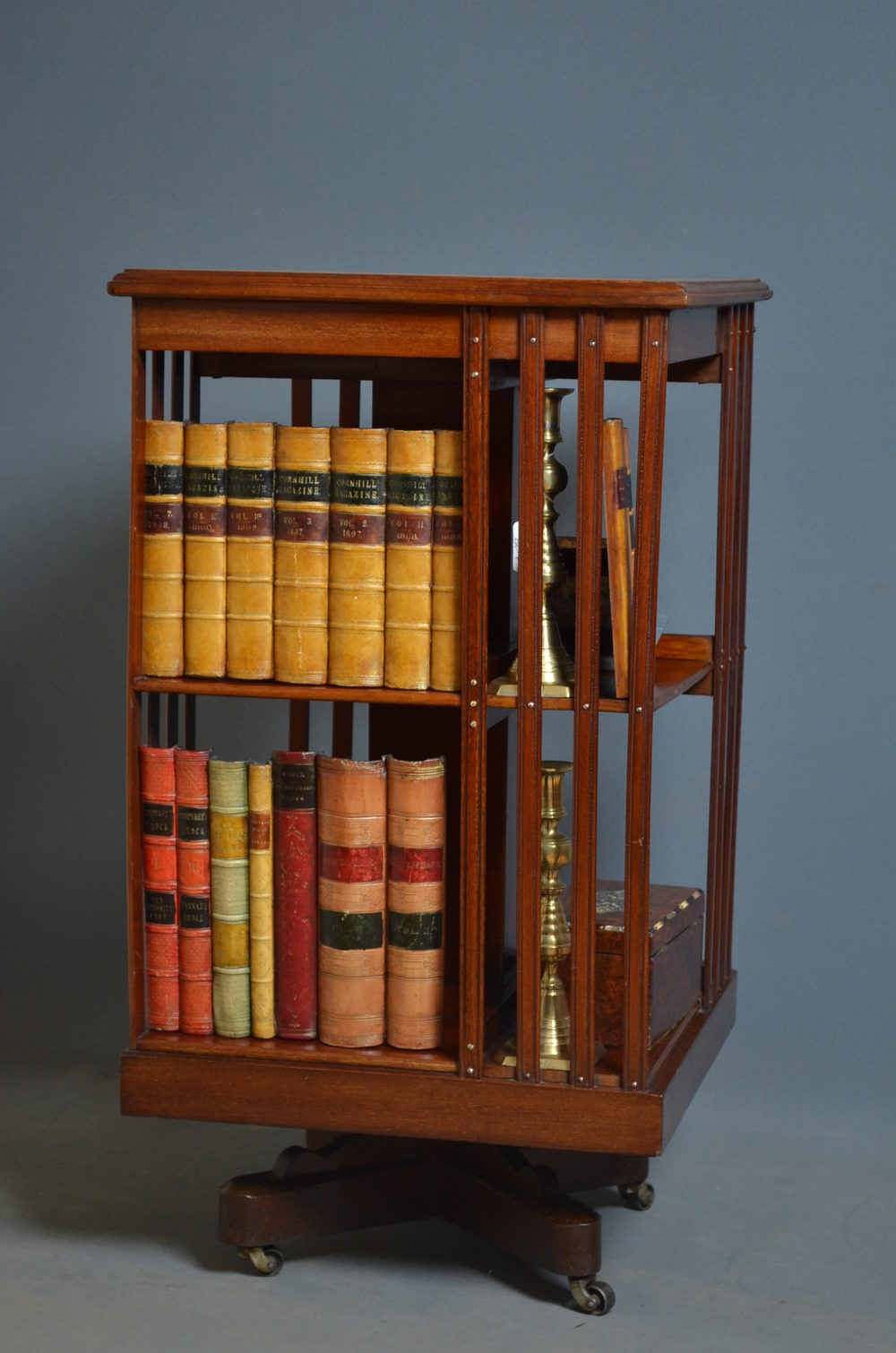 revolving at american oak bookcase large