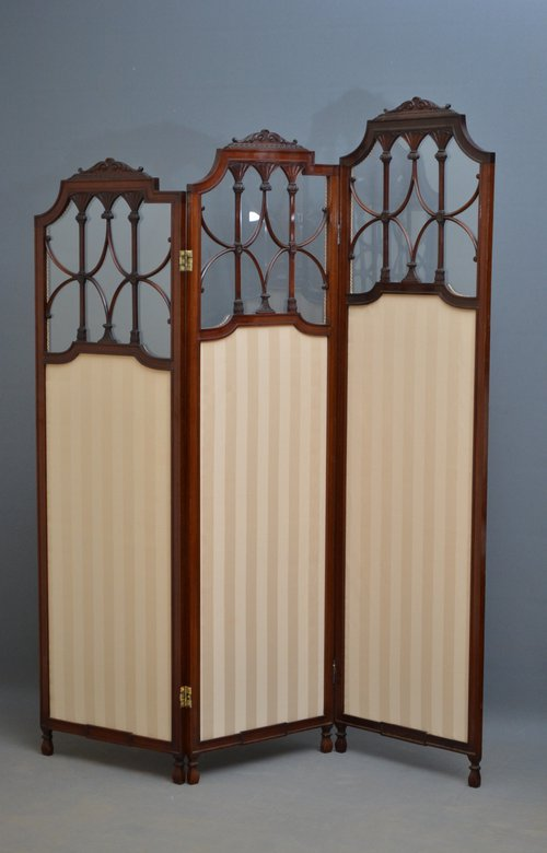 Exceptional Edwardian 3 Panel Folding Screen Antiques Atlas