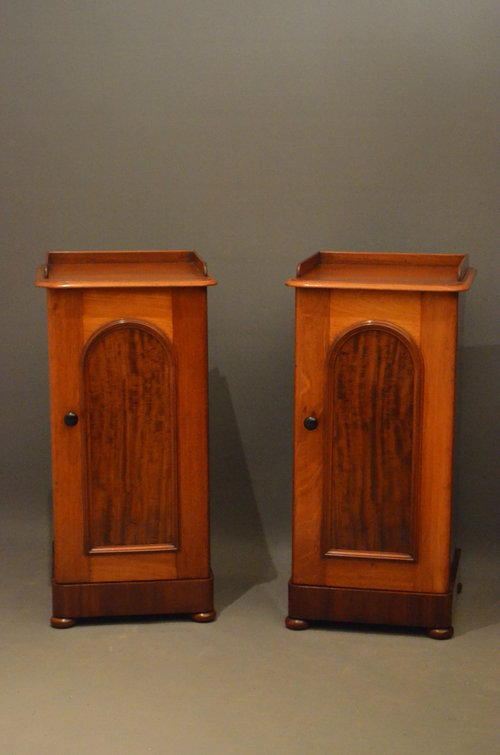 Pair Of Victorian Bedside Cabinets In Mahogany