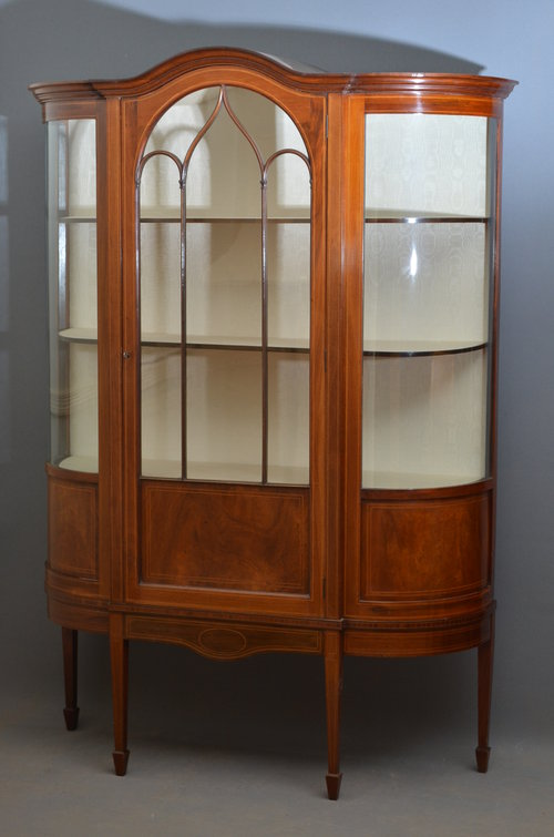 Stunning Edwardian Display Cabinet   Vitrine Antique ...