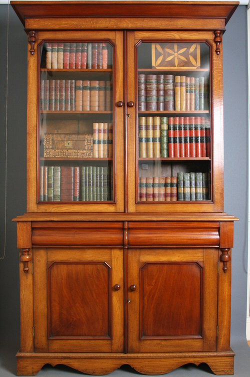 Victorian Library Bookcase In Mahogany And Oak Antiques