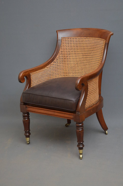 - William IV Bergere Chair In Mahogany - Antiques Atlas