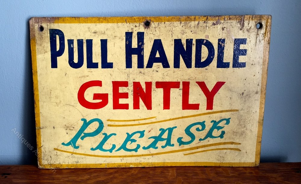 antiques atlas fairground sign pull handle gently