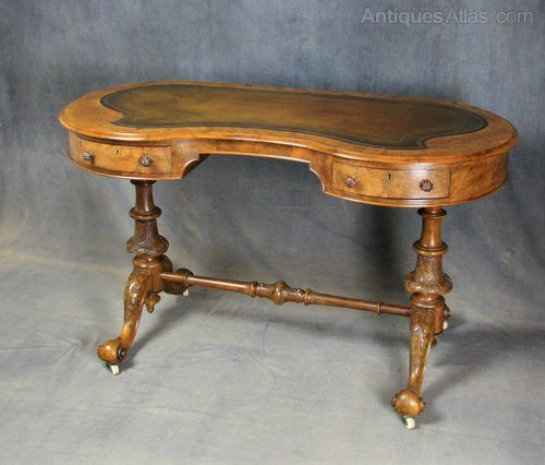 Victorian Burr Walnut Kidney Shaped Writing Table