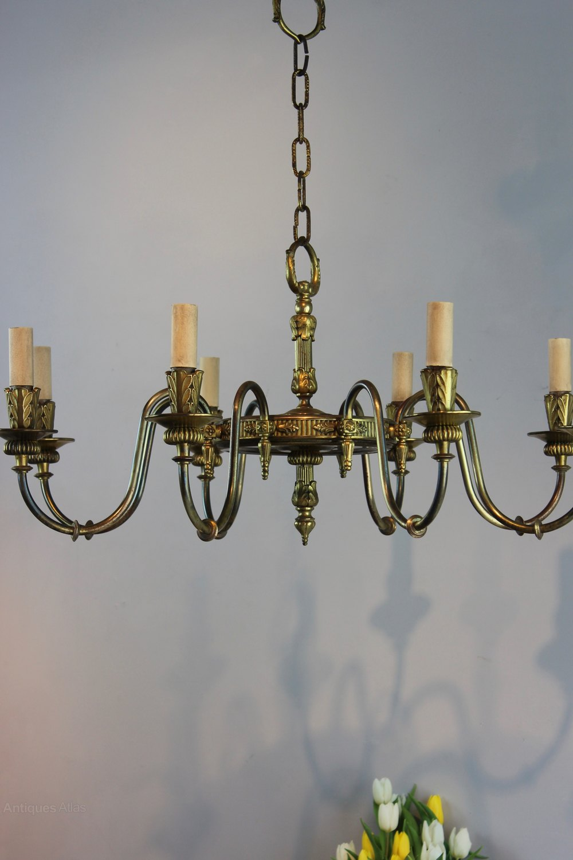 Antique brass French chandelier wide width Antique Lighting, Antique French  Chandeliers ... - Antiques Atlas - Antique Brass French Chandelier Wide Width