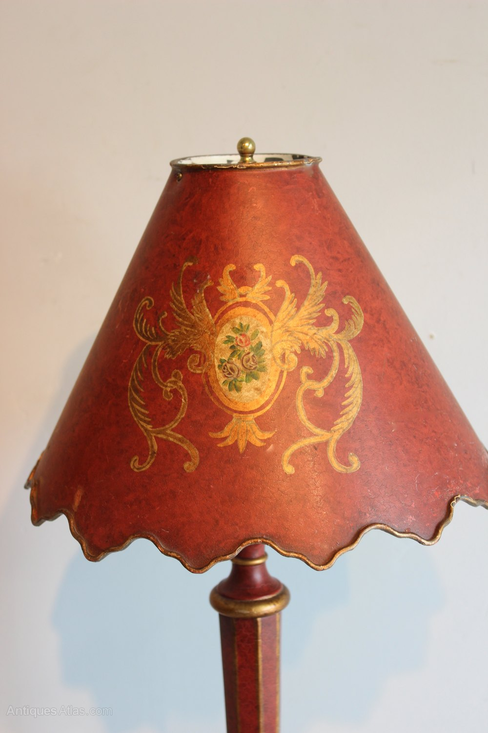 Antiques Atlas Pair Of Red Tole Table Lamps