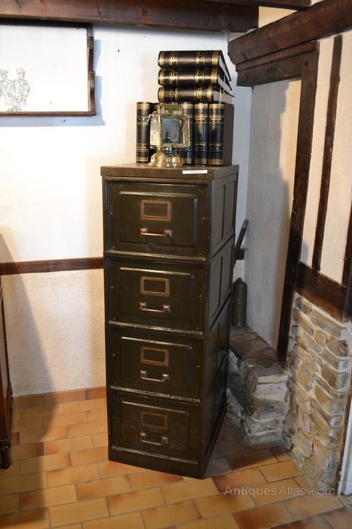 Superieur French Metal Filing Cabinet Antique ...