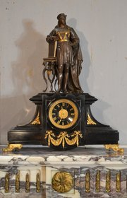 French bronze and marble clock