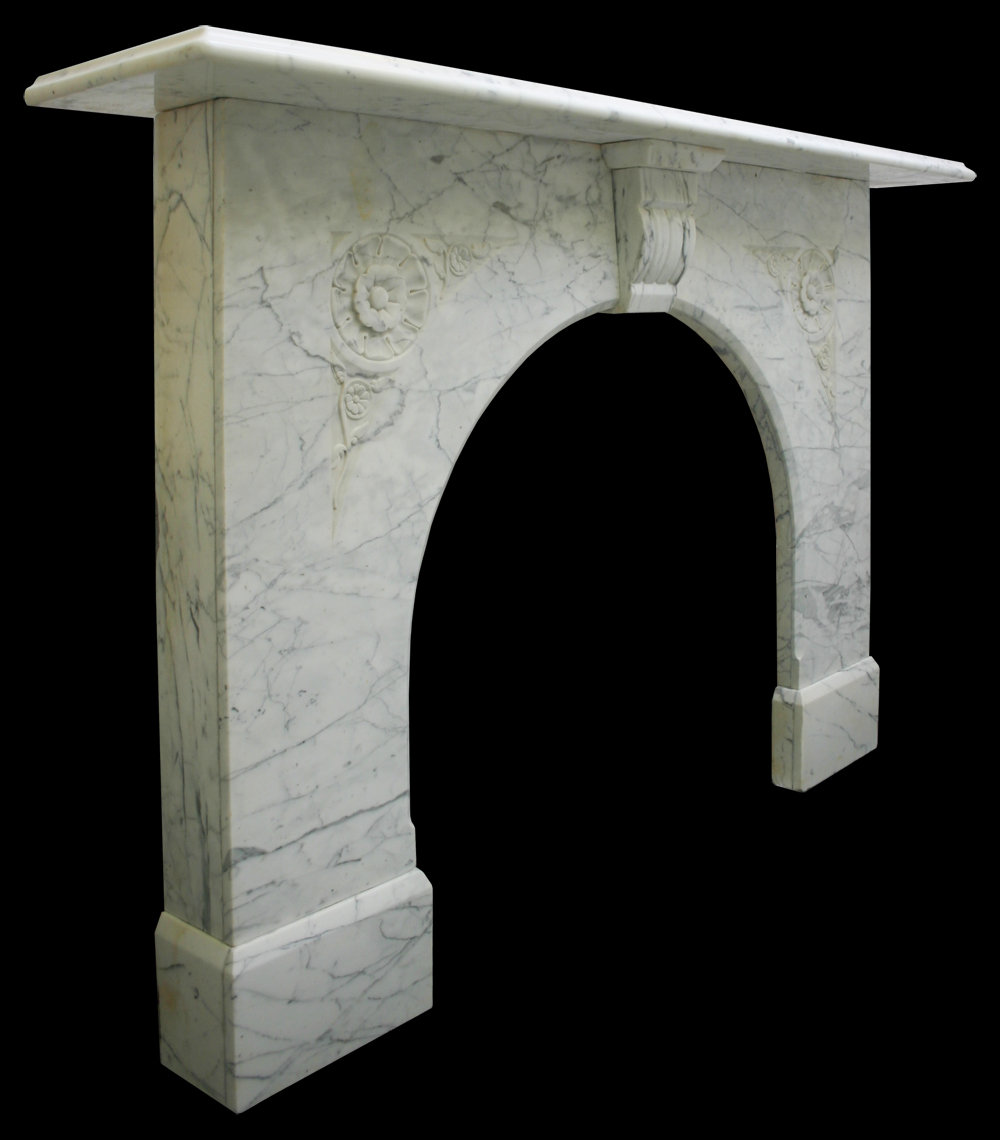 antiques atlas victorian white carrrara arched marble fireplace
