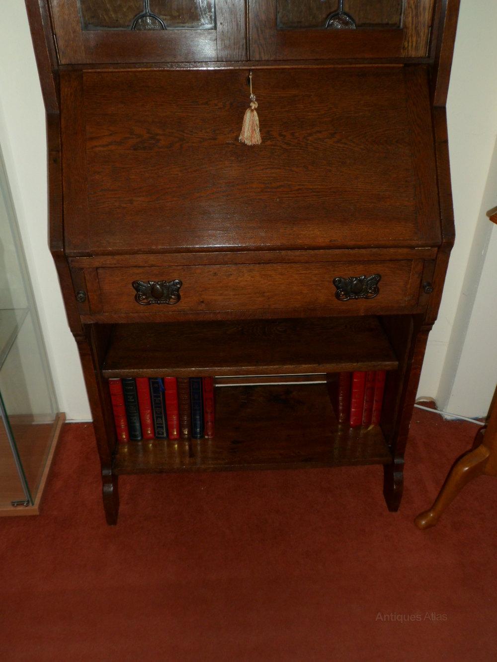 Arts and crafts bureau -  Arts Crafts Oak Bureau Bookcase
