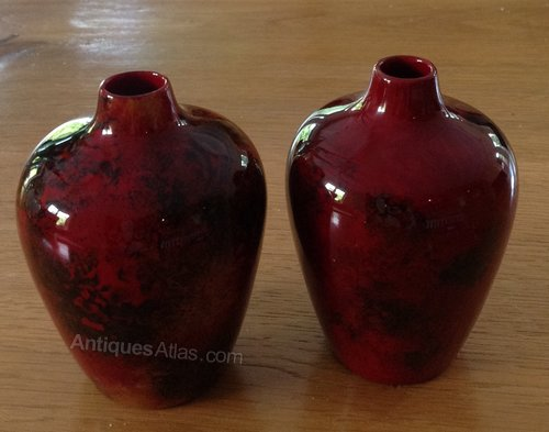 Antiques Atlas Pair Of Art Deco Flamb Vases Crown Ducal