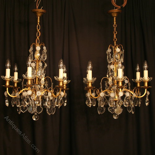 A French Pair Of 6 Light Antique Chandeliers ... - Antiques Atlas - A French Pair Of 6 Light Antique Chandeliers