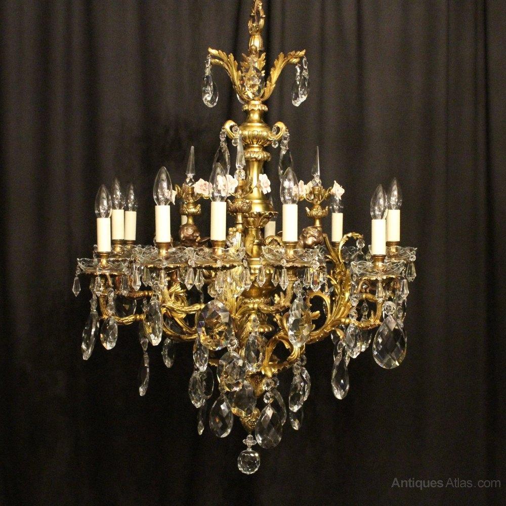 Stunning French Bronze Cherub Antique Chandelier Antique Lighting