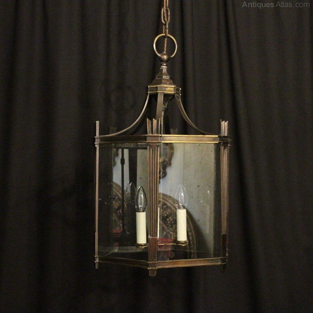 Good French Bronze Triple Light Antique Lantern