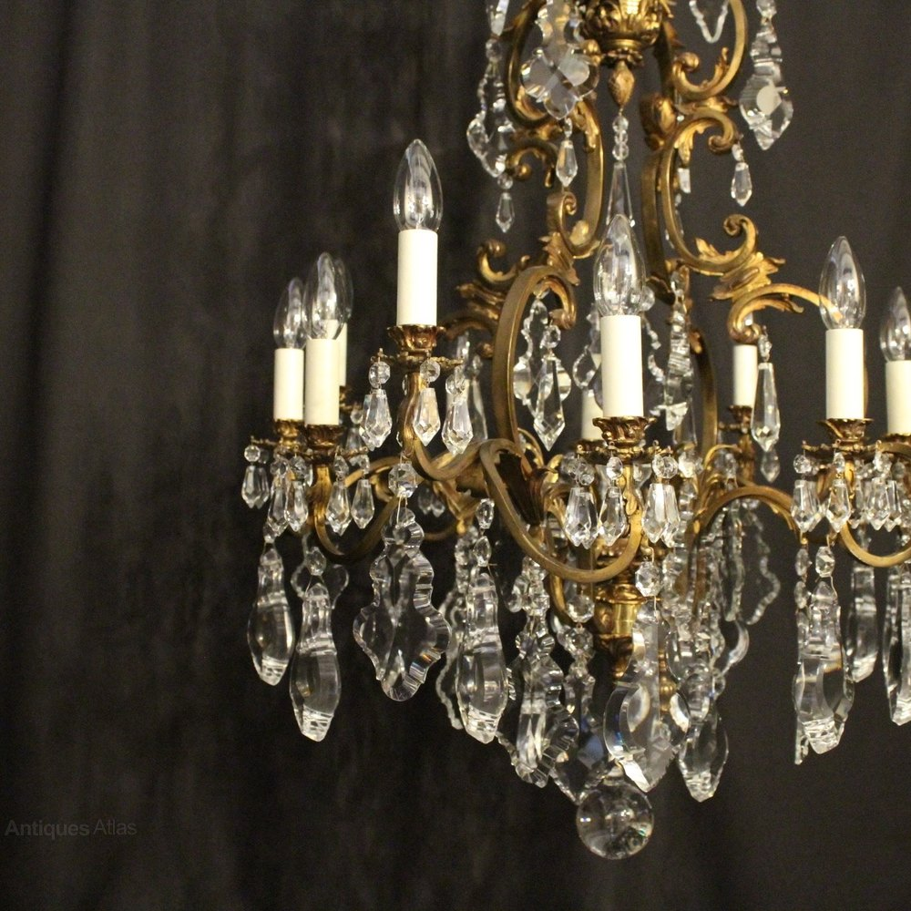 Spectacular French Bronze u Crystal Light Chandelier Antique Lighting Antique French Chandeliers