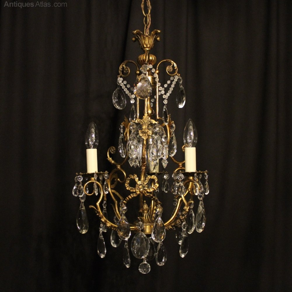 Perfect French Gilded Light Antique Chandelier