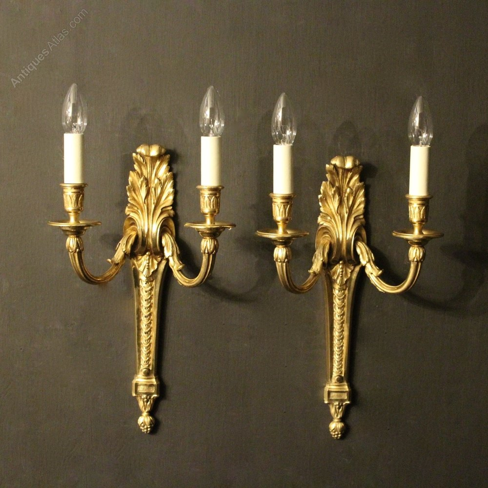 Antiques Atlas - French Pair Of Bronze Antique Wall Lights