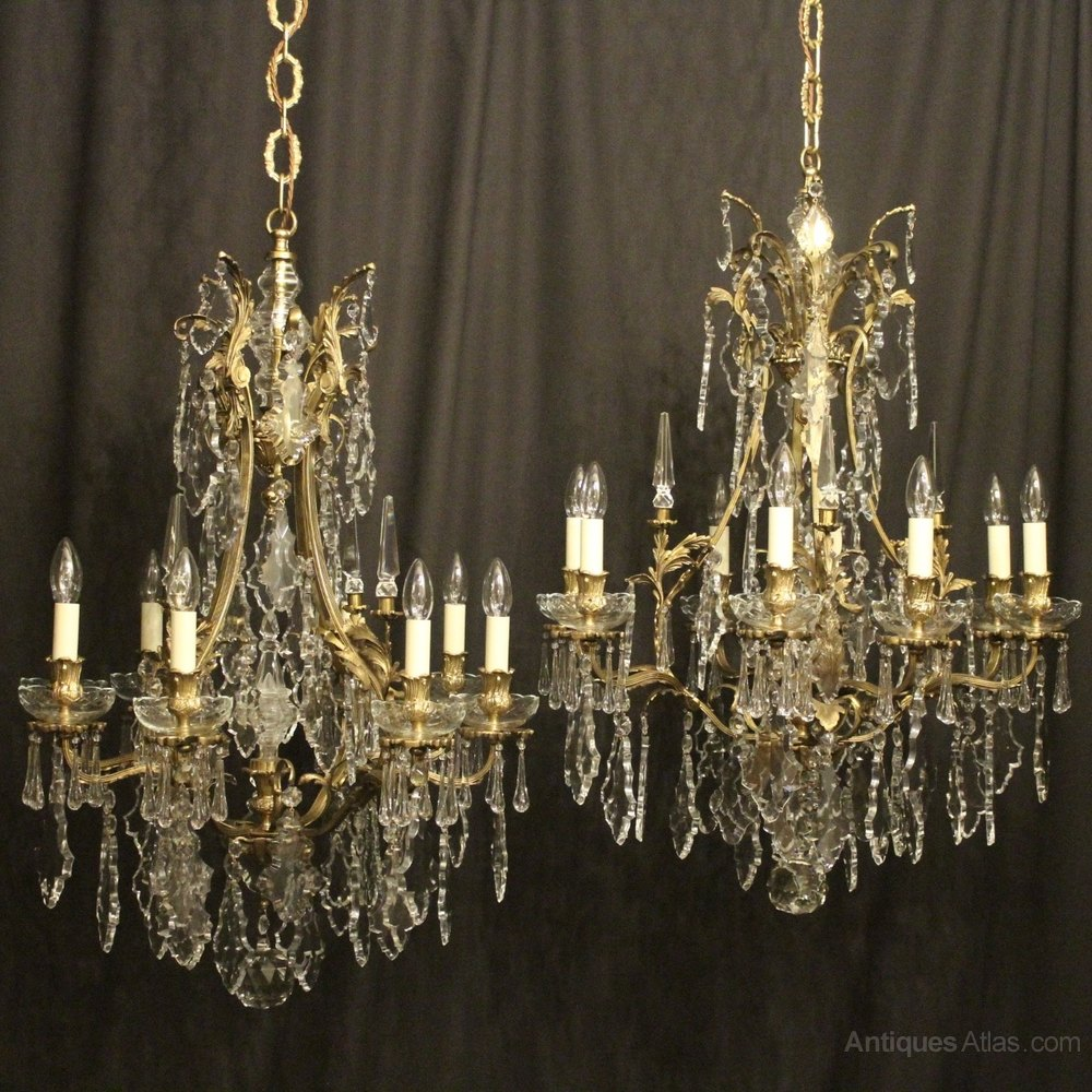 Antiques Atlas French Pair Of Bronze Antique Chandeliers