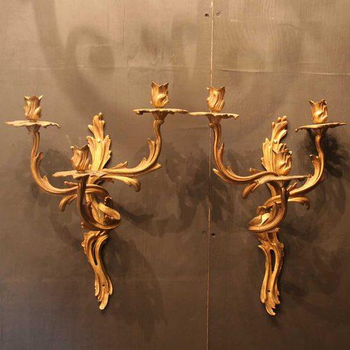 French Pair Of Gilded Triple Light Wall Sconces