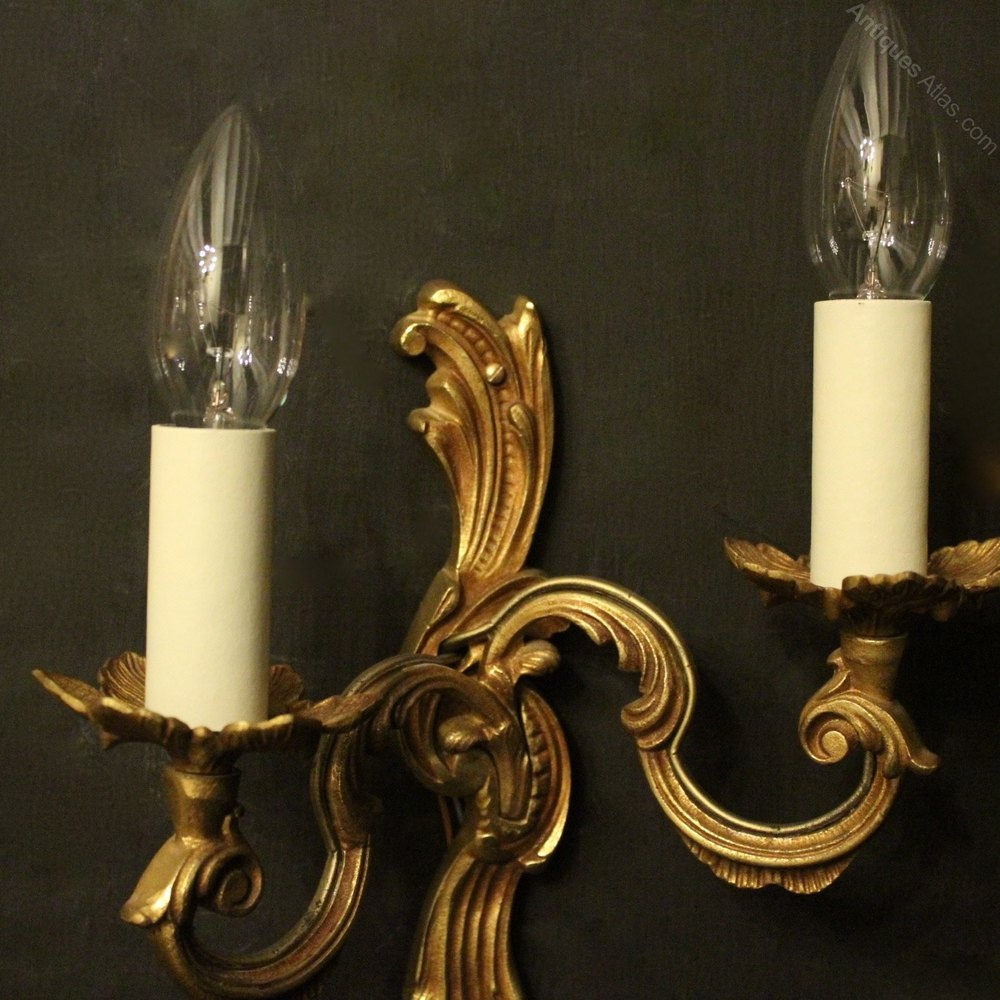 Carolina Twin Wall Lights : Antiques Atlas - French Pair Of Twin Arm Antique Wall Lights