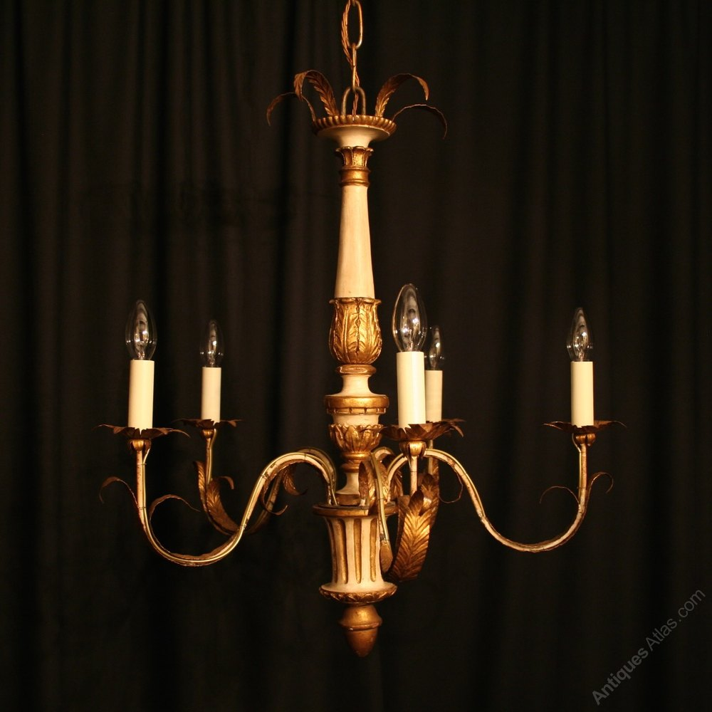 Awesome Italian Light Giltwood Antique Chandelier