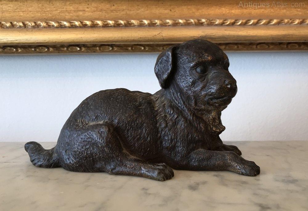 ANTIQUE VIENNA BRONZE Dog w// bandanna BERGMANN COLD PAINTED;NOS