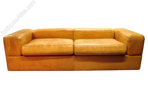 A Very Rare French Retro Leather Sofa Bed