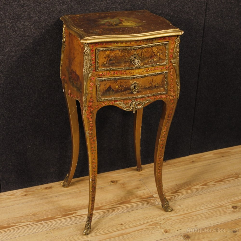 20th Century French Lacquered, Painted Side Table ...
